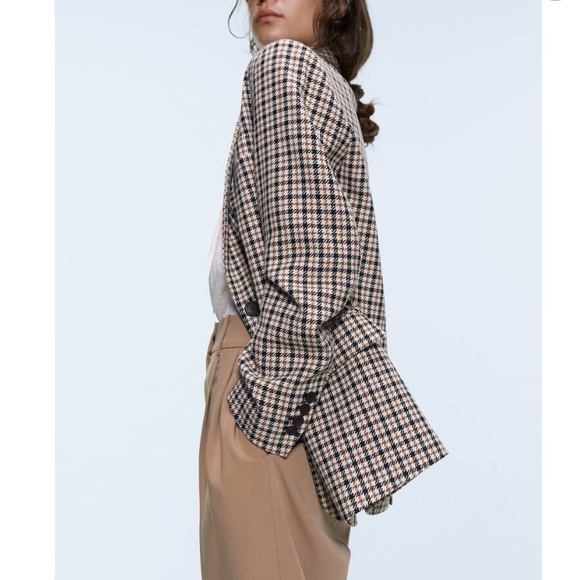 Zara houndstooth oversized double breasted blazer